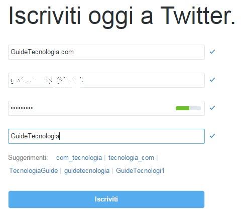 Pagina iscrizione Twitter